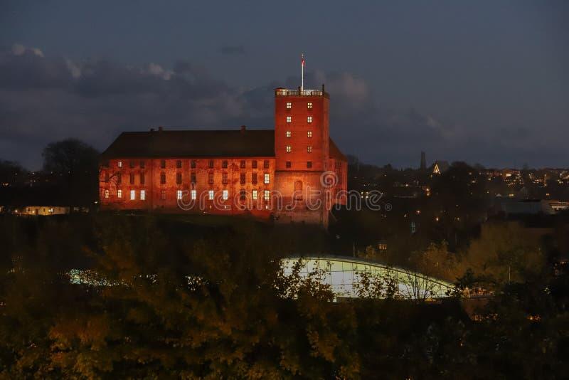 Koldinghus夜HDR照片一座老城堡在科灵丹麦 库存图片