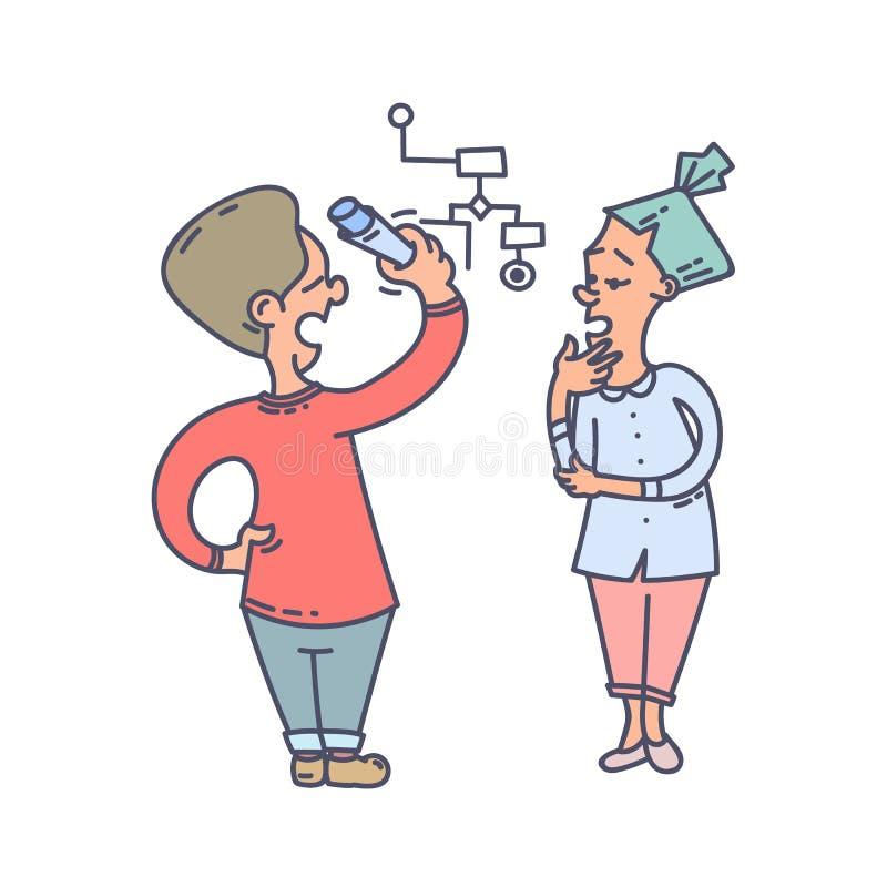 Koledzy dyskutuje cheme przy białą deską ilustracja wektor