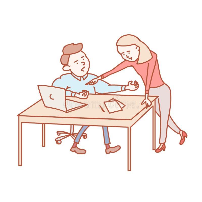 Koledzy dyskutuje pracy zadania behid biurko royalty ilustracja