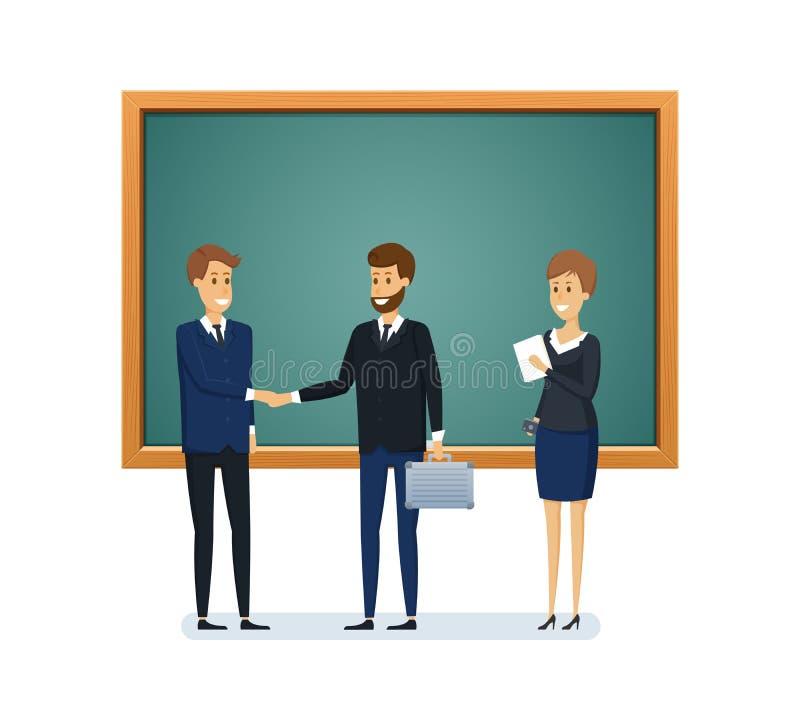 Koledzy od szkoły obok blackboard Nauczanie, uczenie, wiedza royalty ilustracja