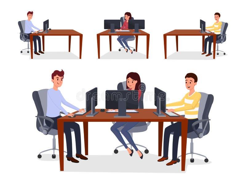 Koledzy, programiści zespalają się wektorową ilustrację ilustracji
