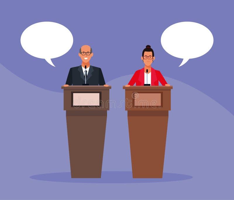 Koledzy w konferencji podium ilustracja wektor