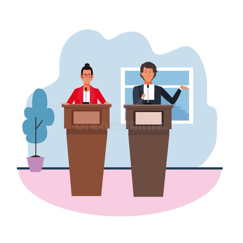Koledzy w konferencji podium ilustracji