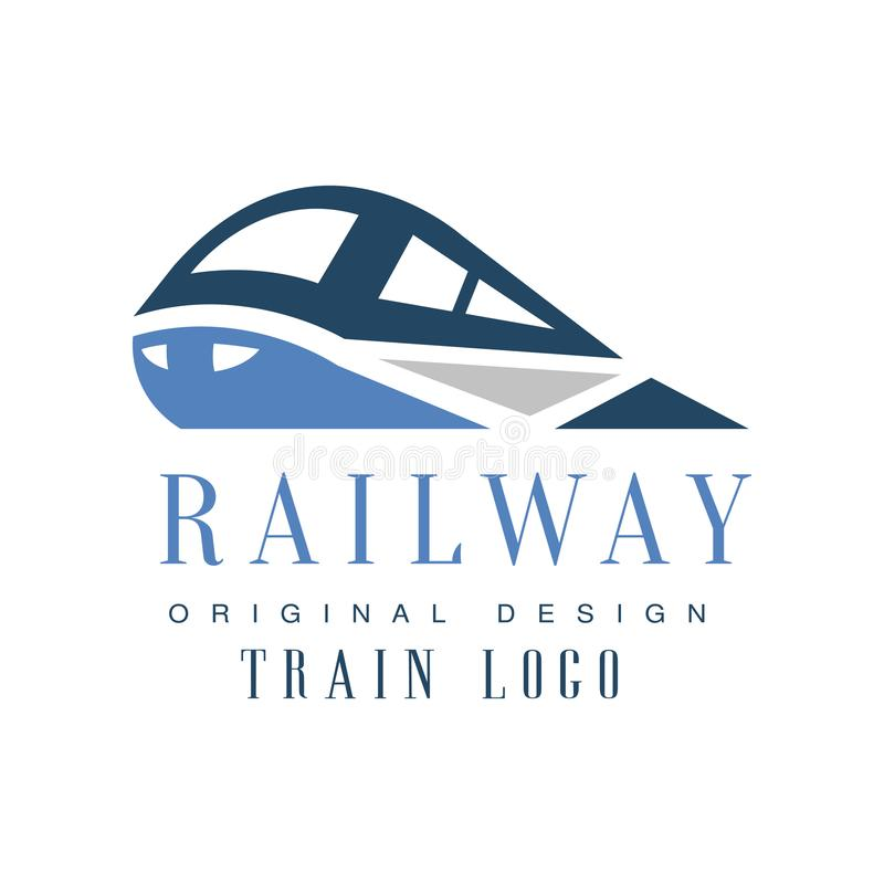 Kolej taborowego loga oryginalny projekt, linia kolejowa emblemata odznaki wektoru przewieziona ilustracja ilustracja wektor