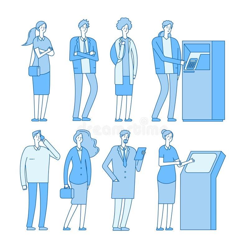 Kolejka atm Ludzie w linii deponować pieniądze atm gotówkowego wycofania pieniądze zapłatę Kobieta mężczyzna z debetową kartą kre ilustracji