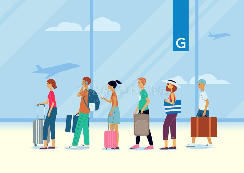 Kolejka ludzie, podróżni pasażery i turyści przy lotniskiem, ilustracja wektor