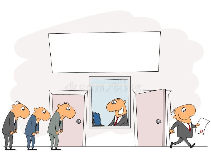 Kolejka w biurze ilustracji