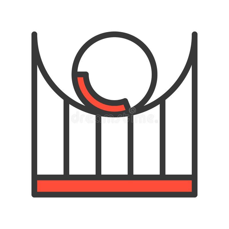 Kolejki górskiej wektorowa ikona, wypełniający konturu stylu editable uderzenie ilustracji