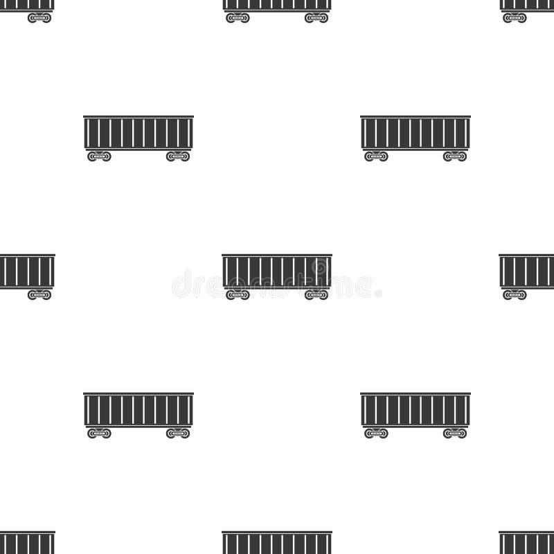 Kolejowa kareciana ikona w czerń stylu odizolowywającym na białym tle Logistycznie wzoru zapasu wektoru ilustracja ilustracji