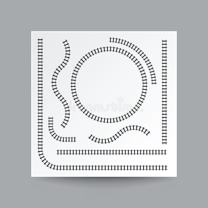 Kolejowa krzywa, prosta, okrąg, łuk, kolekcja set, illustrati ilustracji