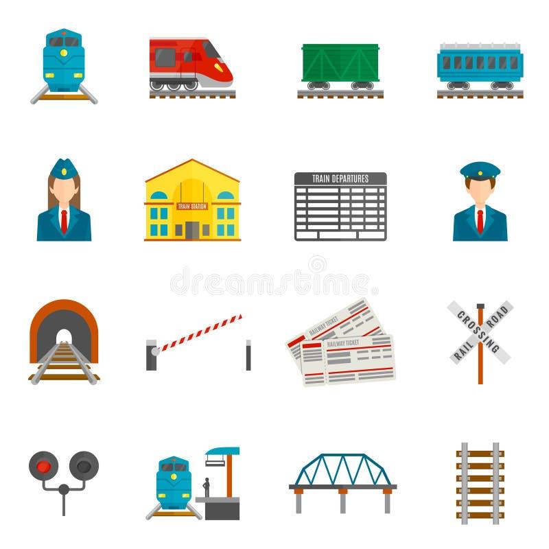 Kolejowe ikony Ustawiać royalty ilustracja