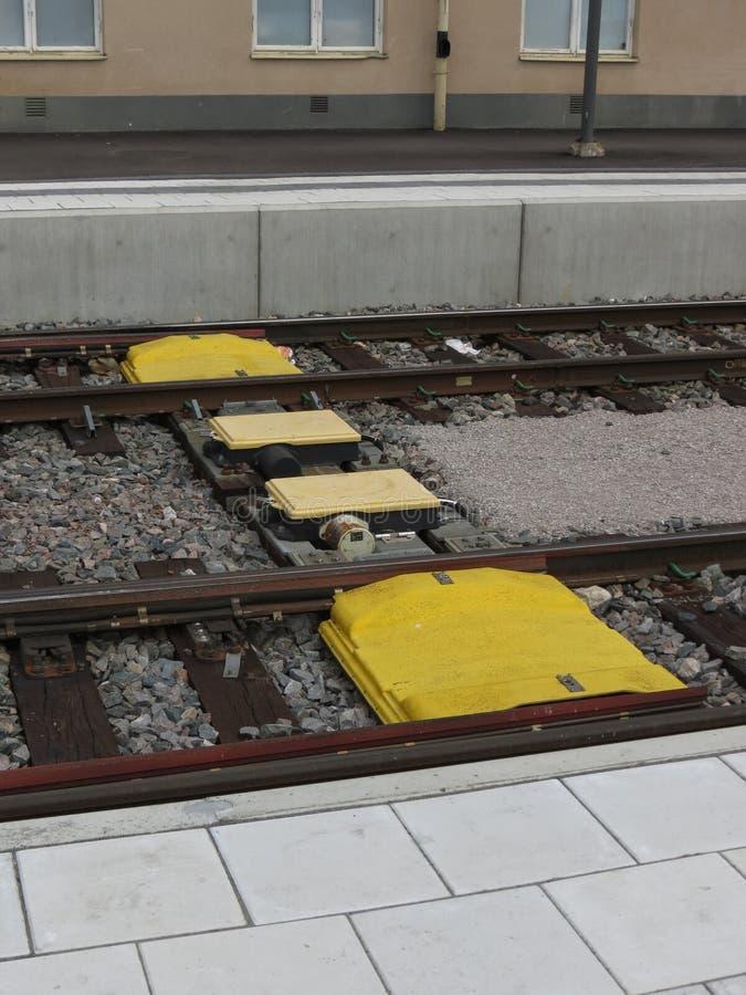Kolejowego śladu taksówki sygnalizacyjny system w Sztokholm zdjęcie stock