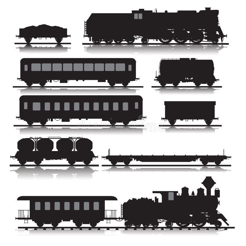 Kolejowi pociągi royalty ilustracja