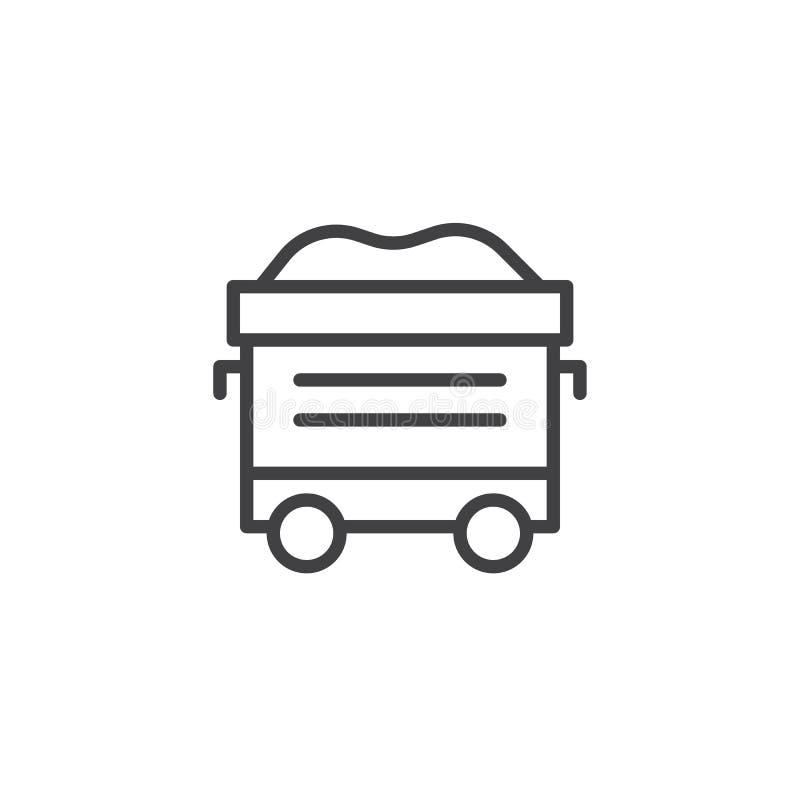 Kolejowy furgon z węglową kontur ikoną ilustracji