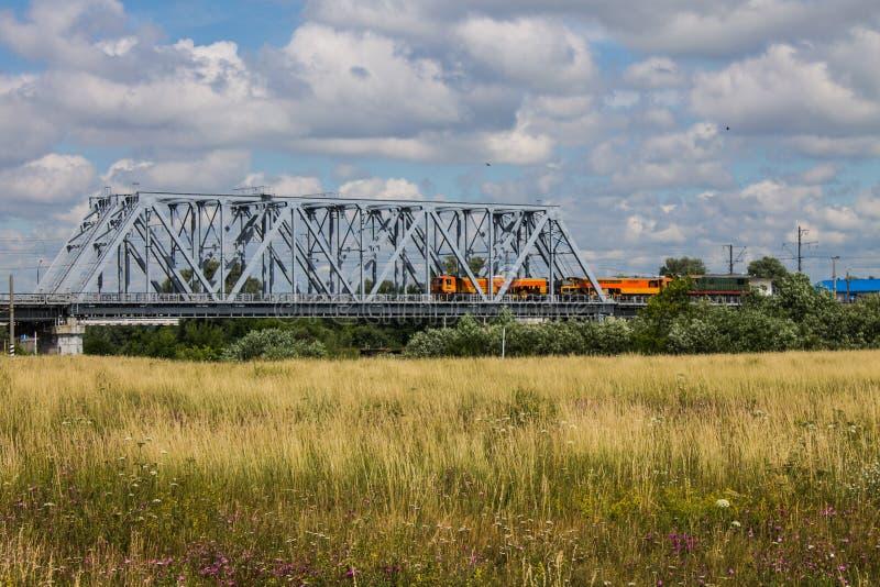 Kolejowy metalu most i lato łąka z wysoką trawą fotografia royalty free
