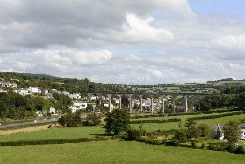 Kolejowy most nad Tamar przy Calstock, Cornwall obraz stock