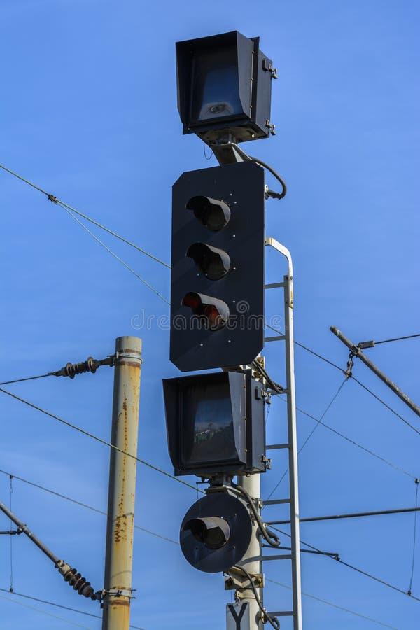 Kolejowy semafor fotografia stock