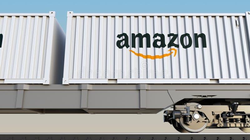 Kolejowy transport zbiorniki z amazonką com logo Redakcyjny 3D rendering ilustracja wektor
