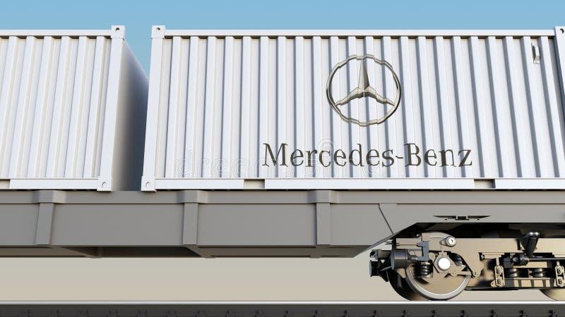 Kolejowy transport zbiorniki z Mercedes-Benz logem Redakcyjny 3D rendering ilustracja wektor