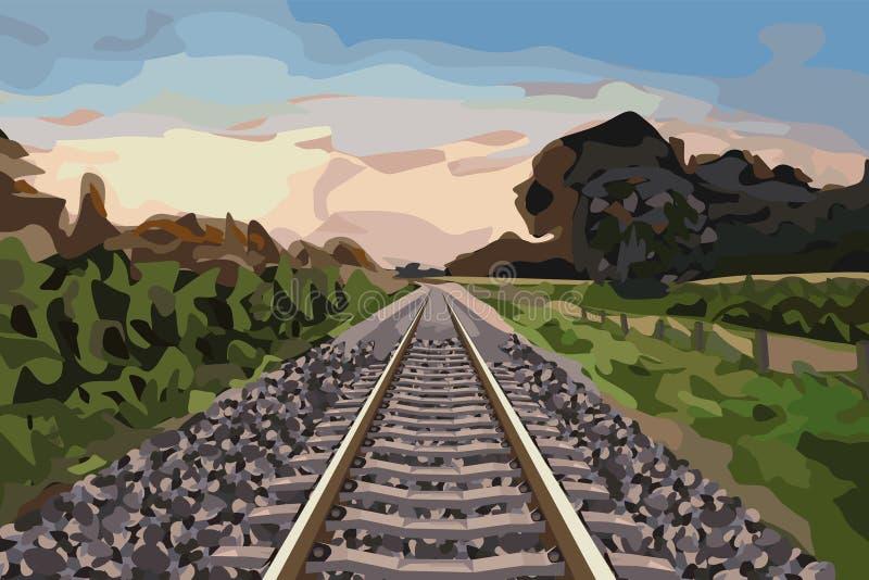 kolejowy wiejski ślad royalty ilustracja