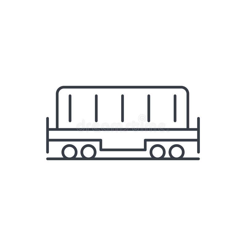 Kolejowy zbiornik, furgonu ładunku cienka kreskowa ikona Liniowy wektorowy symbol ilustracja wektor