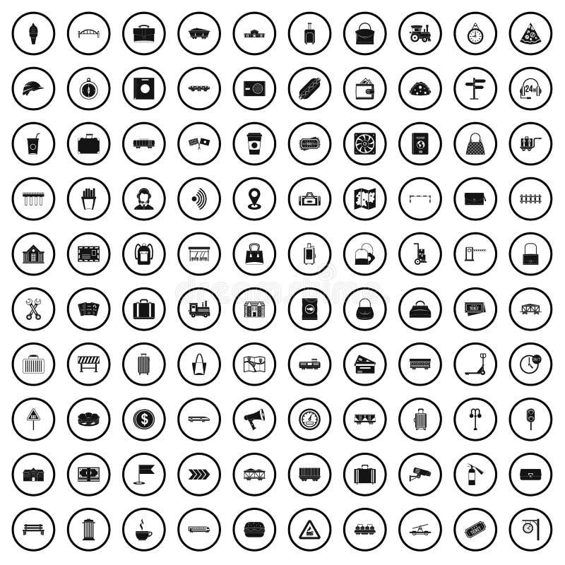100 kolejowych ikon ustawiających, prosty styl ilustracja wektor