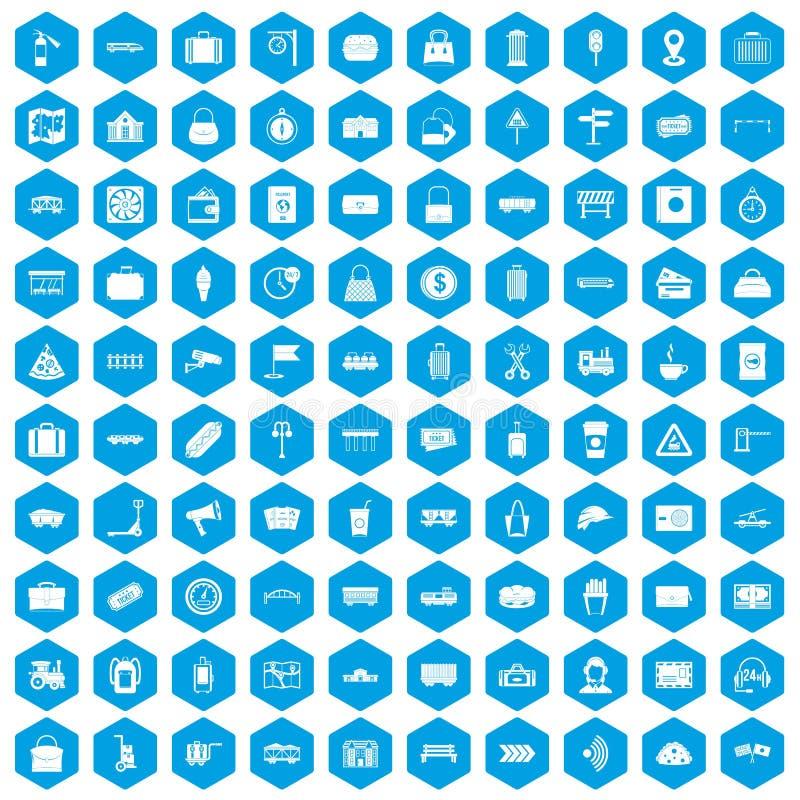 100 kolejowych ikon ustawiają błękit royalty ilustracja