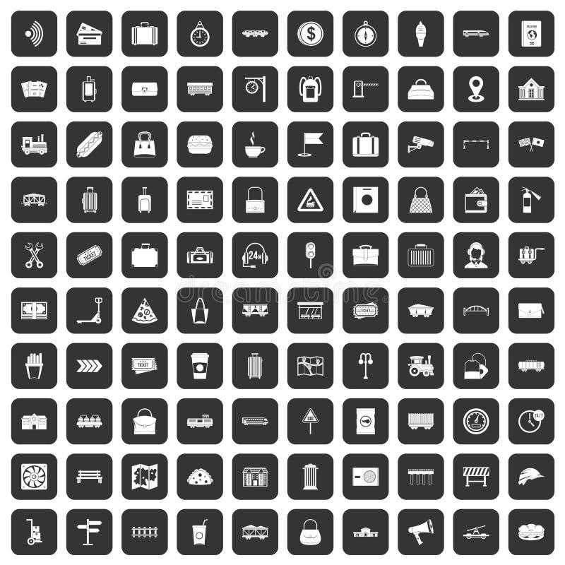 100 kolejowych ikon ustawiają czerń royalty ilustracja