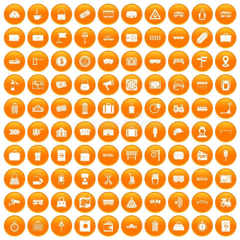 100 kolejowych ikon ustawiająca pomarańcze royalty ilustracja