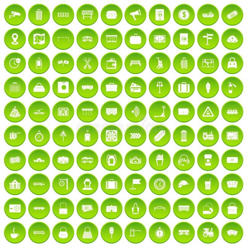 100 kolejowych ikon ustawiająca zieleń ilustracji