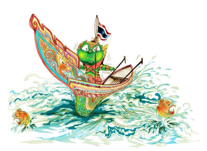 Kolek Thailand Boat and Thai Giant color full stock photo