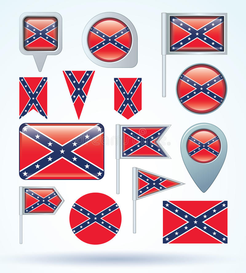 Kolekci flaga konfederat, wektorowa ilustracja royalty ilustracja