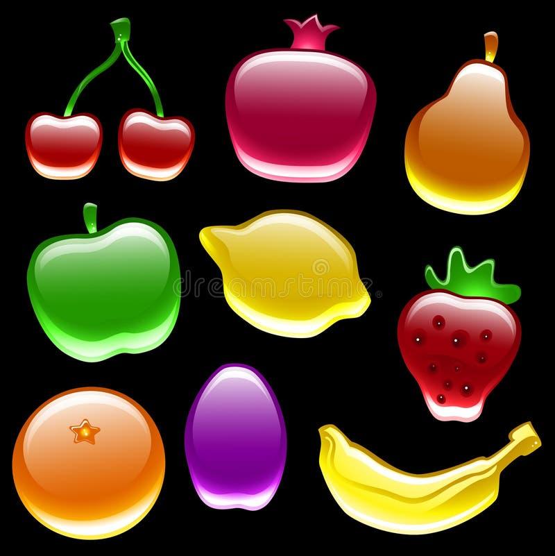 kolekci glansowany owocowy royalty ilustracja