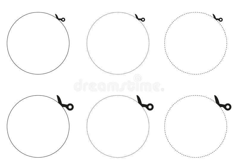 3 kolekci nożyce tnący okrąg out ilustracja wektor