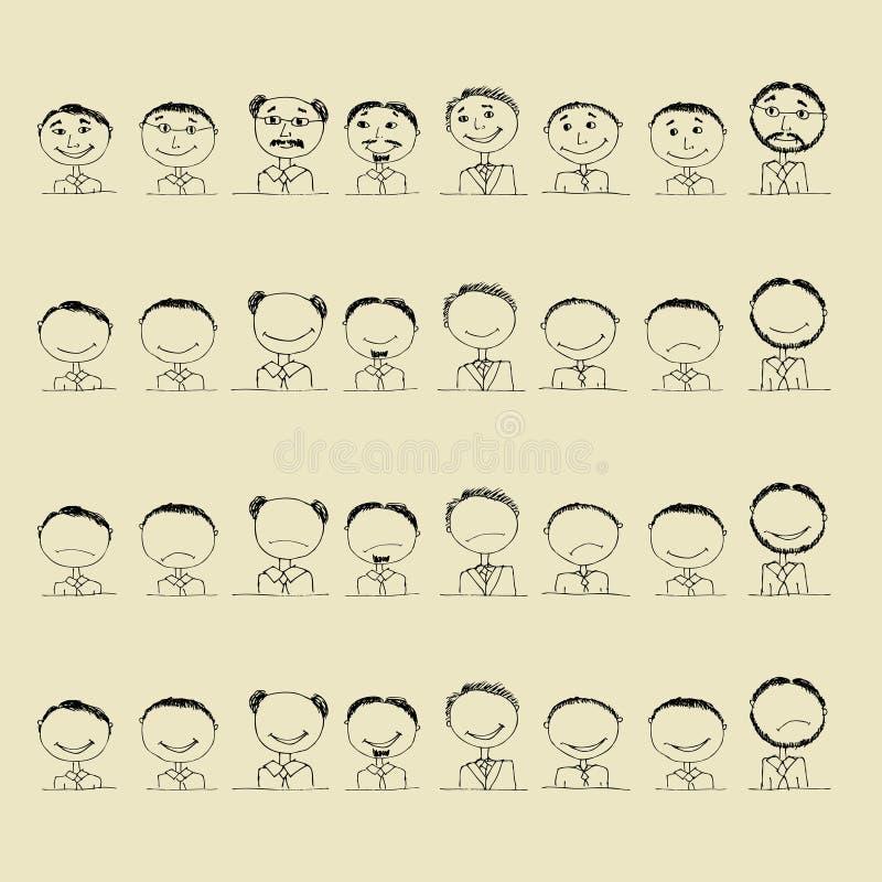 kolekci twarzy ikon mężczyzna uśmiech ilustracji
