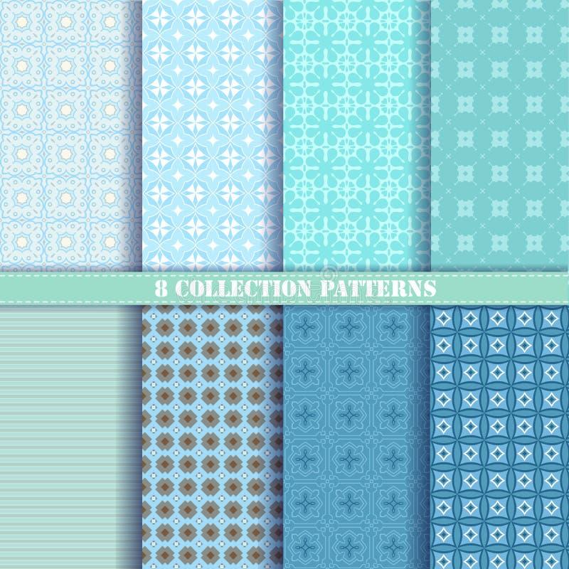 Kolekci 8 wzorów wektorowy błękit zdjęcie royalty free