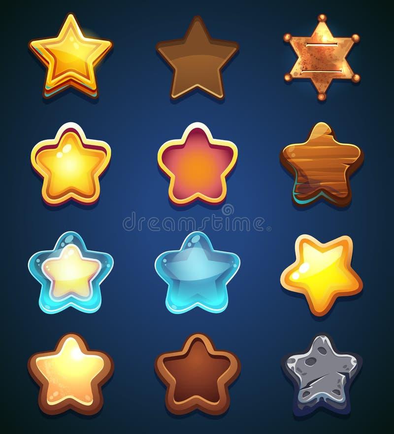 Kolekcj gwiazdowe ikony w różnym stylu ilustracji