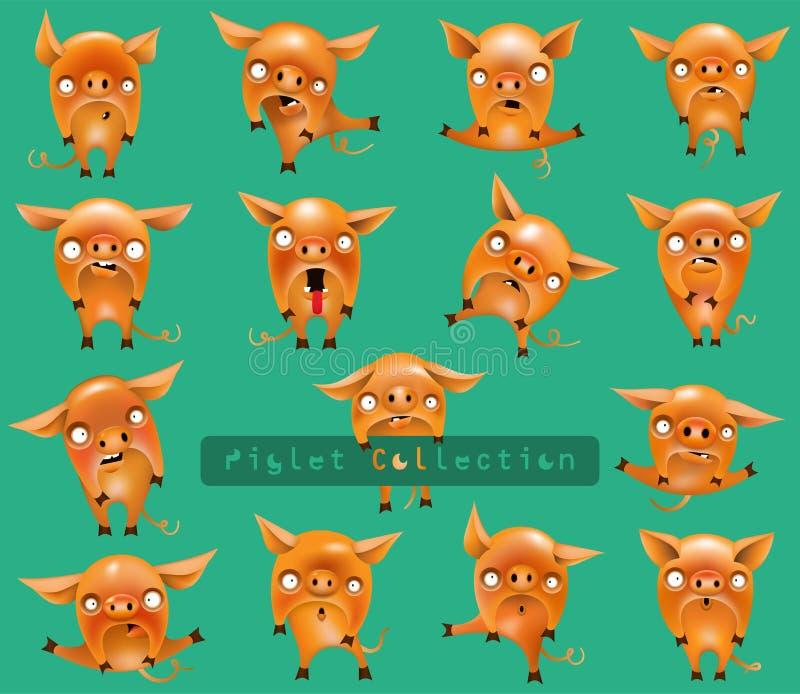 Kolekcja śmieszne świnie z różnymi emocjami w różnych pozach odizolowywać na tle i royalty ilustracja