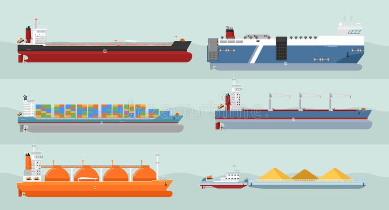 Kolekcja ładunków statków mieszkania stylu ilustracje royalty ilustracja