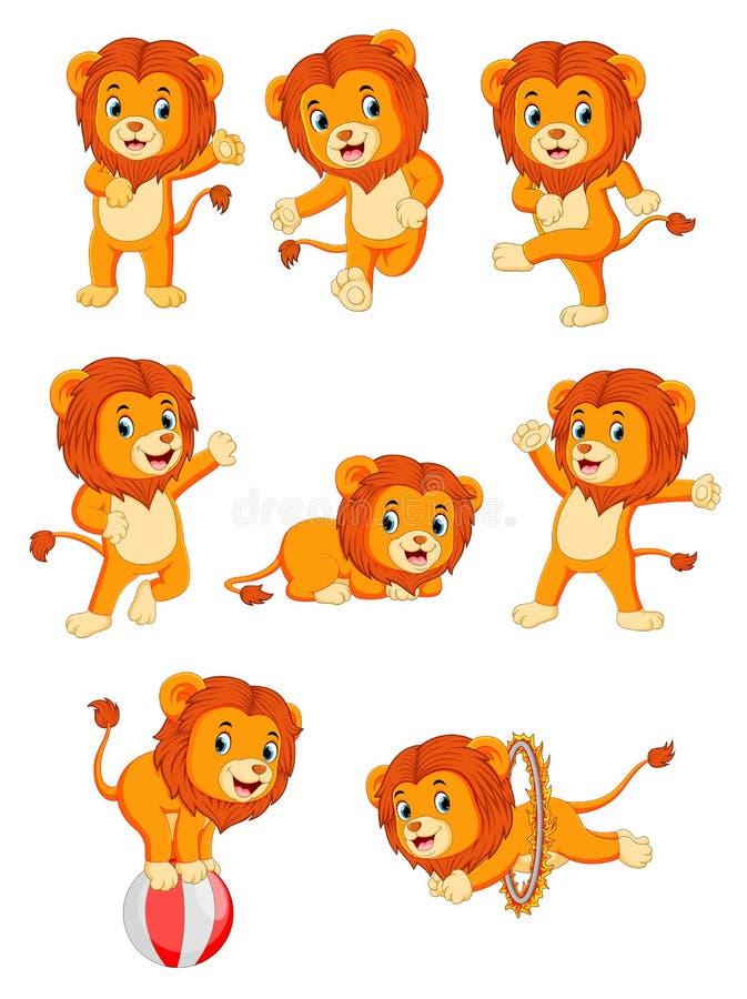 Kolekcja śliczna lwa charakteru kreskówka ilustracji