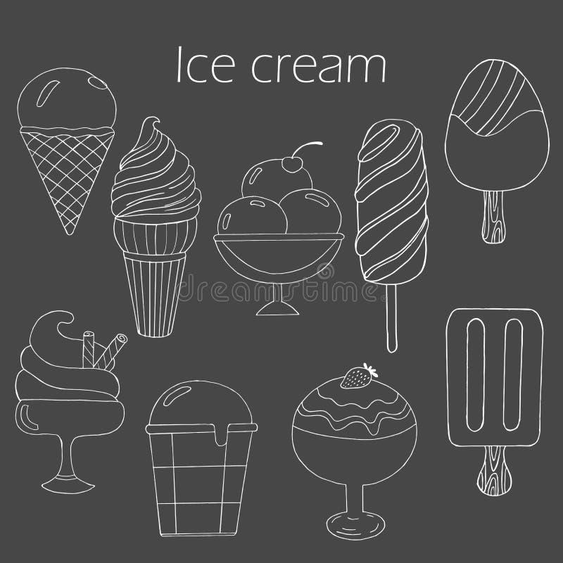 Kolekcja śliczna wektorowa ręka rysujący kreskówka lody ilustracja wektor
