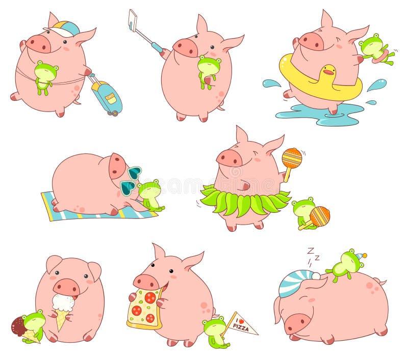 Kolekcja śliczne świnie royalty ilustracja