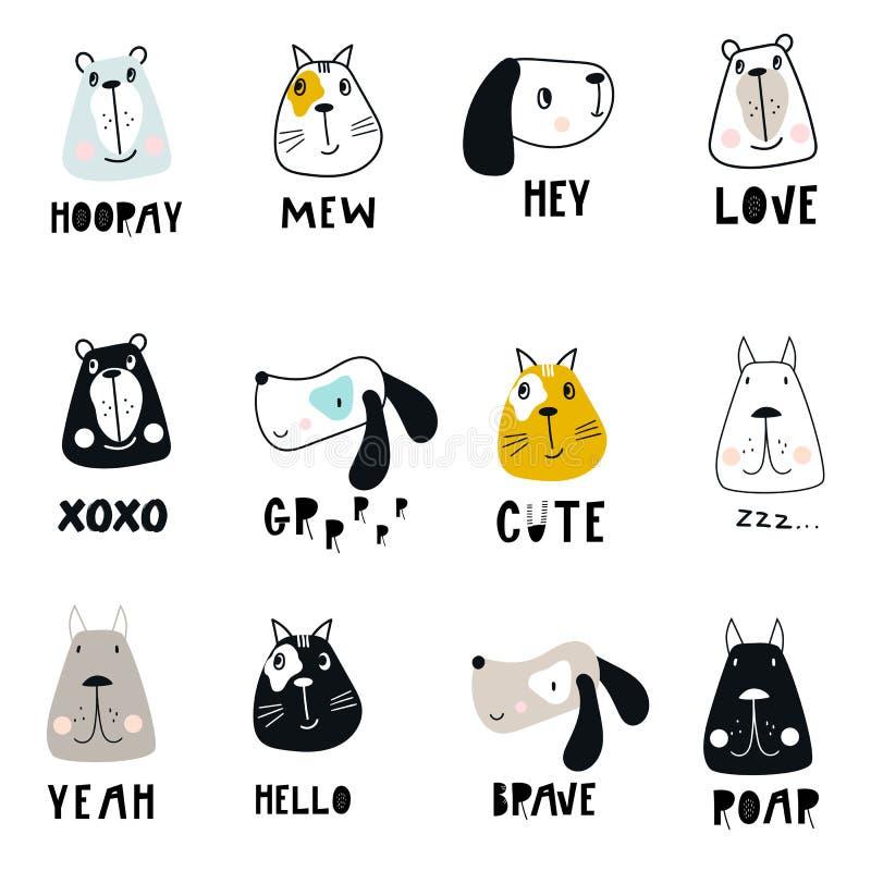 Kolekcja śliczne dzieciak kreskówki zwierzęcia twarze i ręka rysujący literowanie w scandinavian projektujemy ilustracja wektor