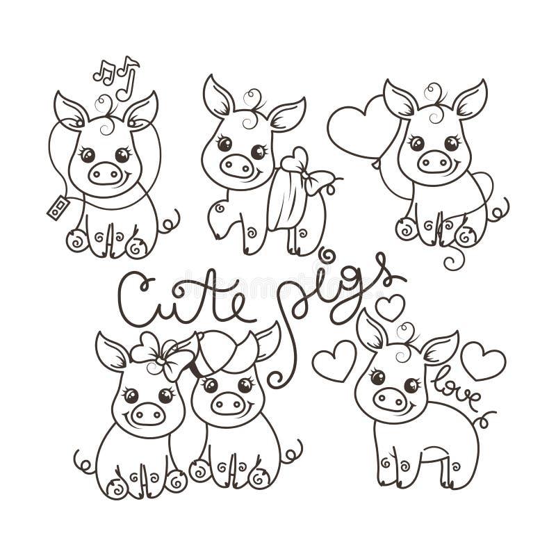 Kolekcja śliczne kreskówek świnie ilustracji