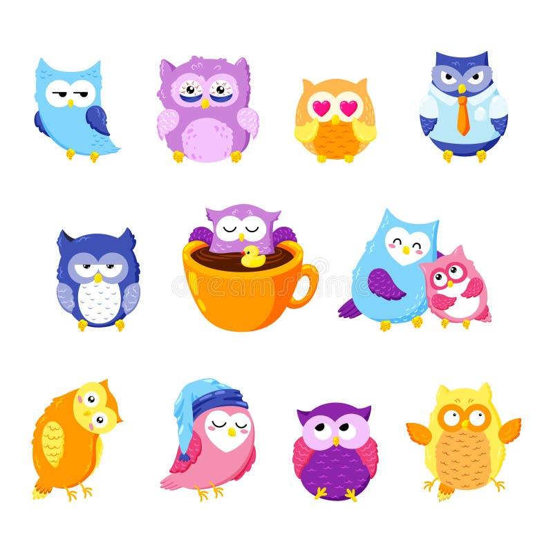 Kolekcja śliczne wektorowe sowy postać z kreskówki dzieci kolorowa graficzna ilustracja royalty ilustracja