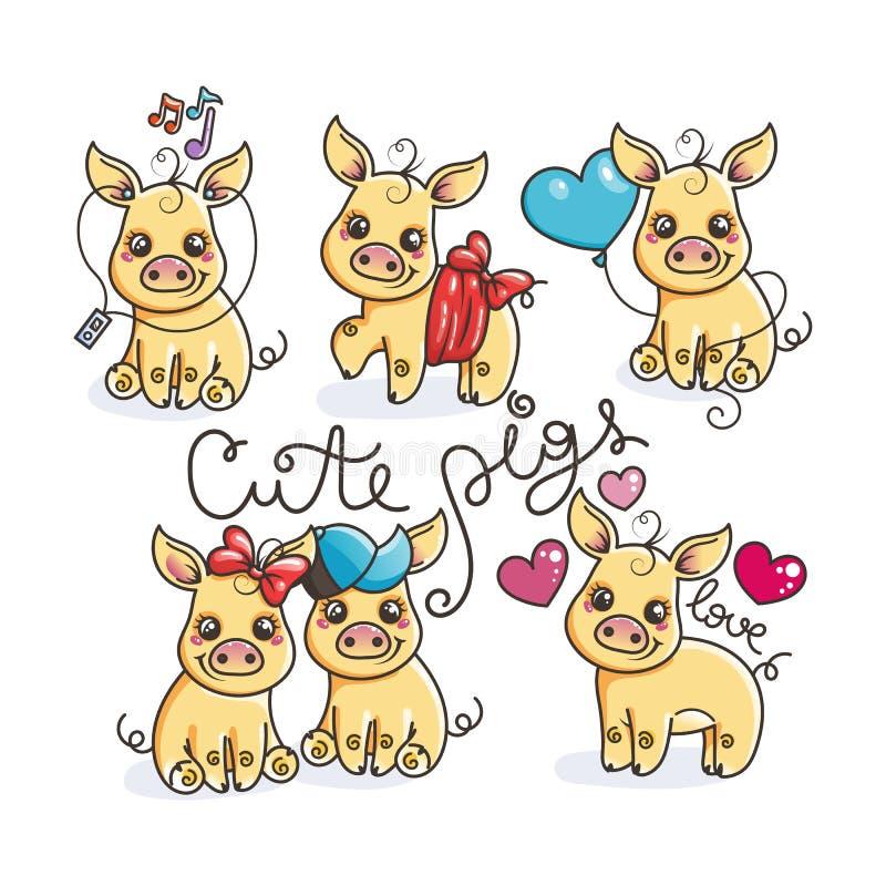 Kolekcja śliczne złote kreskówek świnie ilustracji