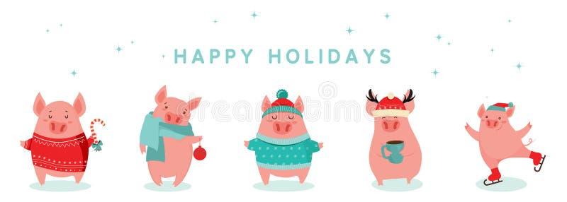 Kolekcja śliczne zim świnie Szczęśliwi nowi 2019 rok Symbol rok w Chińskim kalendarzu Wektorowa kreskówka odizolowywająca