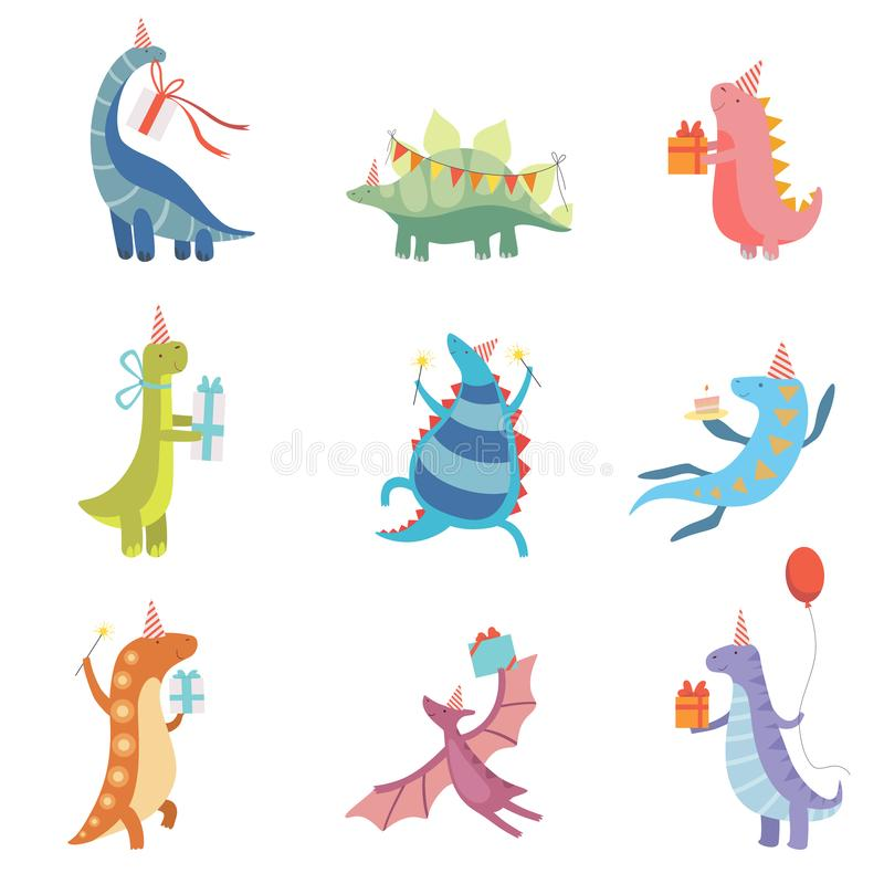 Kolekcja Śliczni Kolorowi dinosaury w Partyjnych kapeluszach, Śmieszni Błękitni Dino charaktery, wszystkiego najlepszego z ok ilustracji