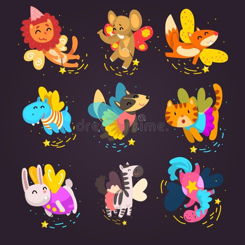 Kolekcja śliczni oskrzydleni zwierzęta z magiczne różdżki, fantazji bajki pies, kot, koń, jednorożec, królik, zebry kreskówka ilustracji