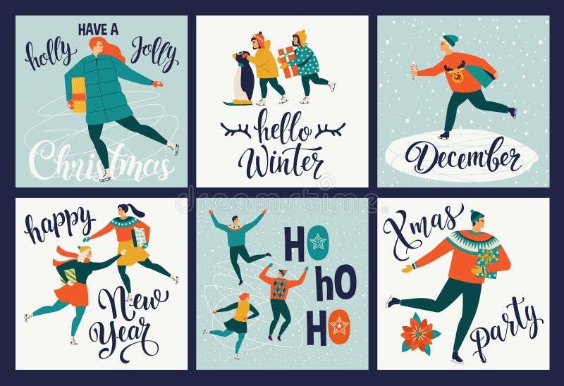 Kolekcja śliczni Wesoło boże narodzenia i Szczęśliwe nowy rok kartki z pozdrowieniami Set ręka rysujący wakacyjni plakatów szablo ilustracja wektor